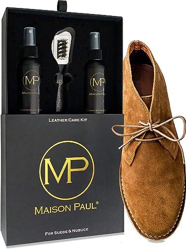 Maison Paul Coffret d'Entretien 3 en 1 pour daim, suede, nubuck et velours | nettoyant, nourrissant, imperméabilisant...