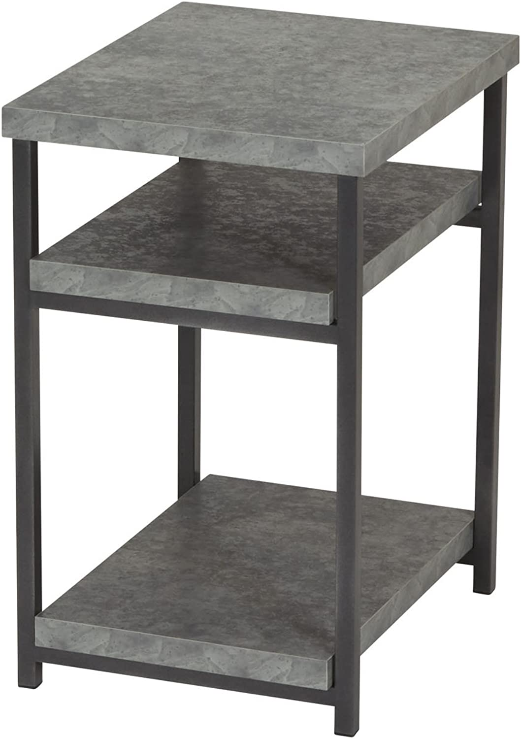 Household Essentials 8097-1 Side End Table with Shelf for Storage, Faux Slate Concrete