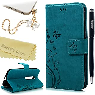 Moto G3 (3rd Generation) Wallet Case - Mavis's Diary Premium Leather with Fashion Floral Flip Cover for Motorola Moto G3 3 3rd Generation (Released on 2015) with Butterfly Dust Plug & Pen - Blue