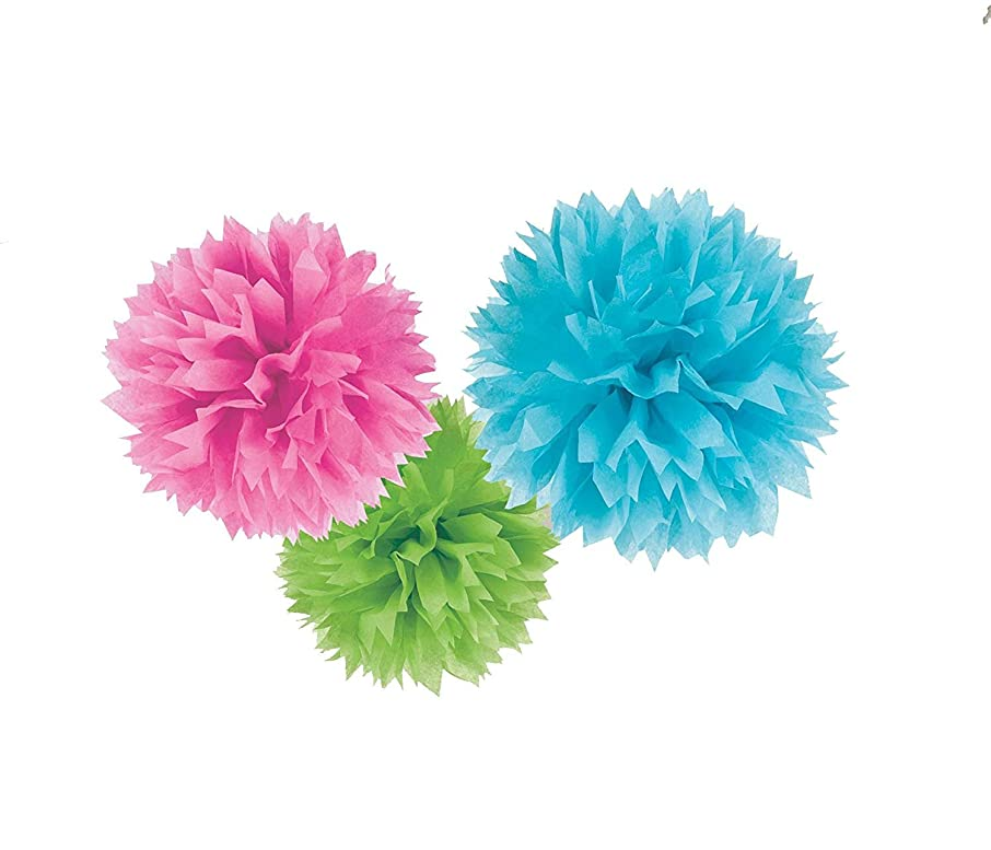 """S-shine 16"""" Poms Large Fluffy Pom Pom Hanging Decorations Tissue Paper Pom Flowers For Celebrate Decoration Fluffy Hanging Lantern Party/Wedding Blooms Ball (Lime Rose Blue 3pcs assemble)"""