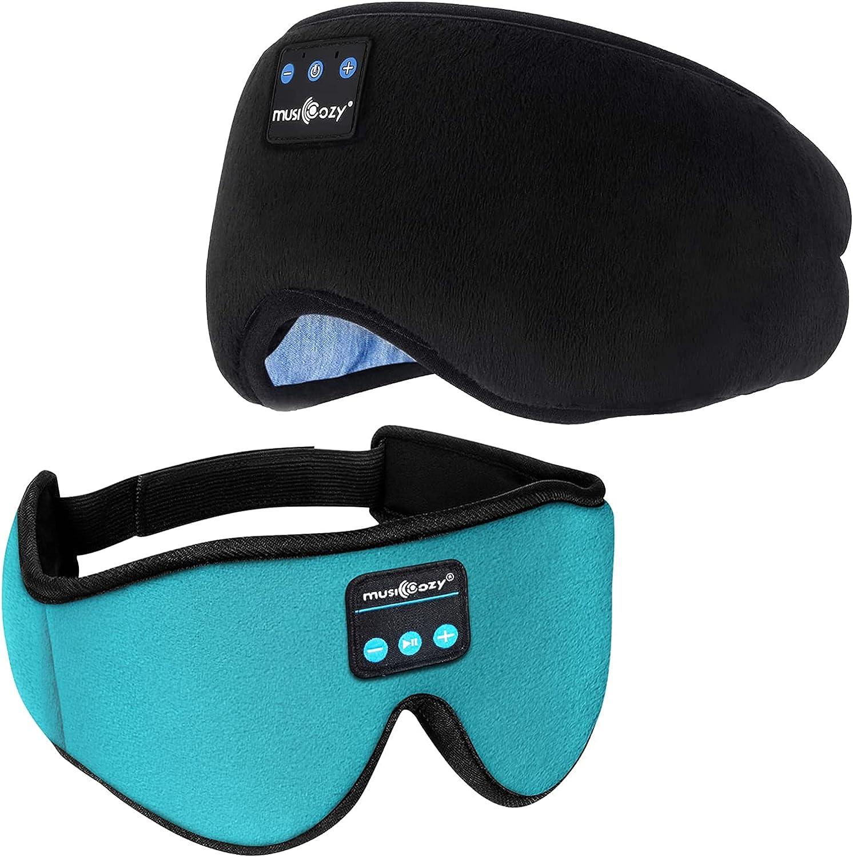 MUSICOZY Sleep Headphones Bluetooth 5.2 Headband Sleeping Headphones Sleep Mask, Wireless Music Eye Mask Sleep Earbuds for Side Sleeper Men Women Cool Tech Gadget Unique Gift Office Travel, Pack of 2