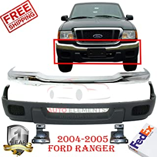 New Front Bumper Steel Chrome For 2004-2005 Ford Ranger XLT 4wd STX Lower Valance Textured w/o Fog Light Holes + Brackets Left Hand & Right Hand Side Direct Replacement Set of 4 FO1002368 FO1066143