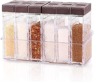Miystn Boite a Sucre en Poudre, Spice Jar, Epices Pots Rangement, Rangement de Condiments, Sel, Sucre et Poivre (1 Jeu)