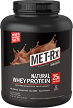 MET-Rx Natural Whey Protein Powder, Great for Meal Replacement Shakes, Low Carb, Gluten Free, Chocolate, 5 lbs, With Vitam...