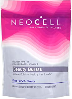 NeoCell Beauty Bursts Collagen Soft Chews - 2,000mg Collagen Types 1 & 3 - Super Fruit Punch Flavor – 60 Count (Packaging May Vary)