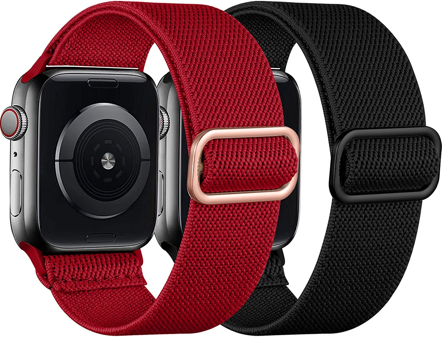 [2 Pack] SNBLK Compatible with Apple Watch Bands 45mm 44mm 42mm 41mm 40mm 38mm, Adjustable Stretchy Elastic Sport Nylon Strap Replacement Wristbands Compatible for iWatch Series 7 6 5 4 3 2 1 SE