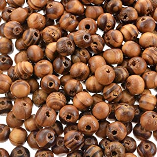Souarts 8mm Pack of 800pcs Coffee Light Coffee Stripe Ball Shape Wood Wooden Loose Beads