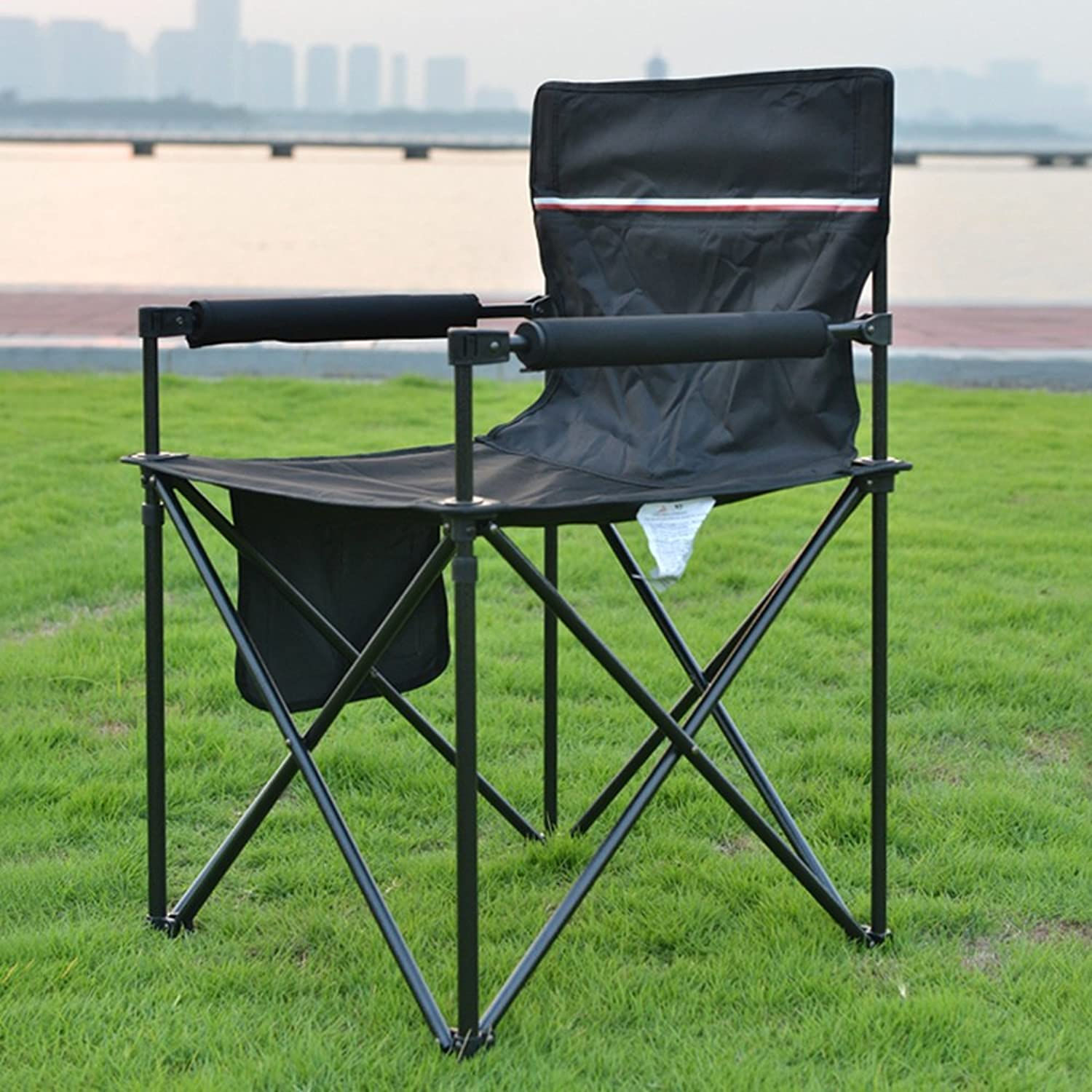 Folding chair QFFL Portable Barbecue Table Outdoor Beach Leisure Fishing Chair 2 color Optional 83  48  54cm Outdoor stool (color   B)