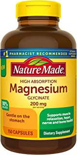 Nature Made High Absorption Magnesium Glycinate 200 Mg, for Muscle Relaxation, Heart, Nerve, and Bone Health, 150 Count