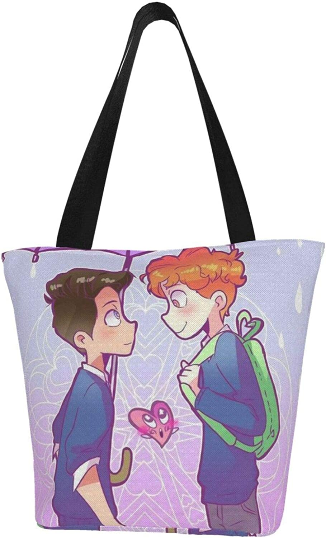 Gay Rainbow Couple Boyfriend Themed Printed Women Canvas Handbag Zipper Shoulder Bag Work Booksbag Tote Purse Leisure Hobo Bag For Shopping