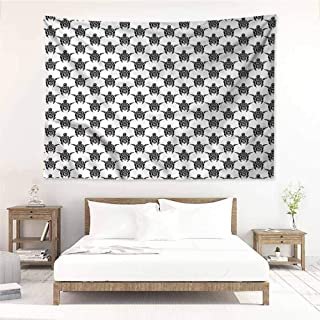 Sunnyhome Living Room Tapestry,Tattoo Maori Turtles Tribal Art,Stylish Minimalist Fresh Style,W60x51L