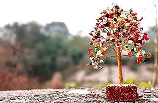 RUDRA DIVINE Natural Multicolor Crystal Money Tree,Rainbow Aura Titanium Quartz Cluster Base Bonsai Sculpture