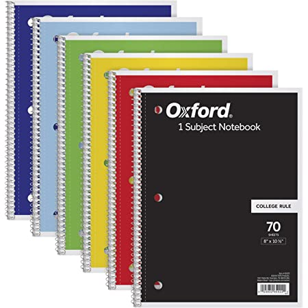 Oxford 1-Subject Notebooks, 8 x 10-1/2, College Rule, 70 Sheets, 6 Pack, Color Assortment May Vary (65007)