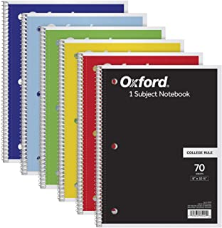 Oxford Notebooks, 8 x 10.5in, College Rule, 6 Pack
