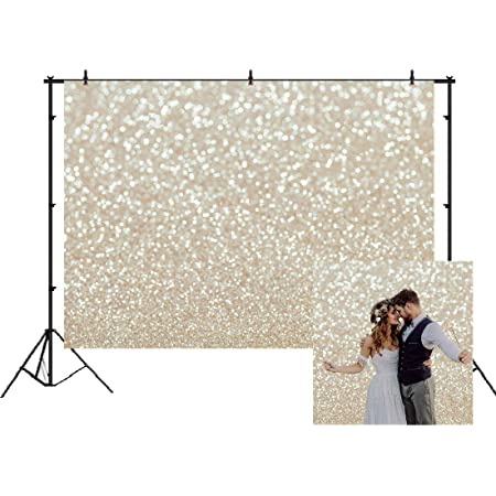AOSTO 7x5ft Ivory Gold Bokeh Backdrop for Photography Glitter Golden Dots Background Baby Shower Birthday Wedding Cake Table Photo Booth Banner for Studio Props W-3494