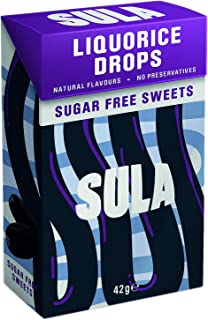 Sula Liquorice Sugar Free Boiled Sweets with Natural Flavour 42 g (Pack of 14)