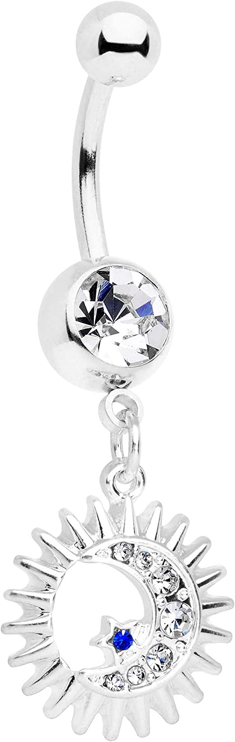Body Candy Womens 14G 316L Steel Navel Ring Piercing Clear Accent Moon Sun Dangle Belly Button Ring