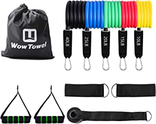 WowTowel Portable Exercise Resistance Band Set - 5 Stackable Exercise Bands with Door Anchor, Ankle Straps Carrying Case, ...