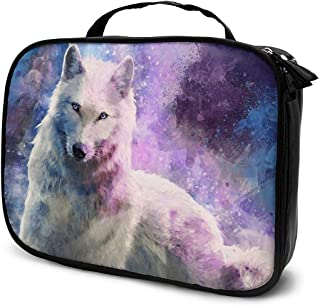 Cosmetic Bag Wolf Howling Fantasy Galaxy Travel Makeup Bag Anti-wrinkle Cosmetic Case Multi-functional Storage Bag Large Capacity Makeup Brush Bags Travel Kit Organizer Women's Travel Bags