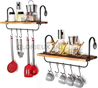 Glorieux Art Kitchen Wall Shelves for Home decoration with 10 Adjustable Hooks for Hanging Mugs Spoons Cooking Utensils To...
