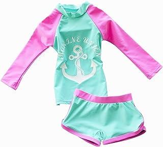 Jojobaby Kid Girl's Two-Piece Long Sleeve Swimsuits Bathing Suit UPF50+