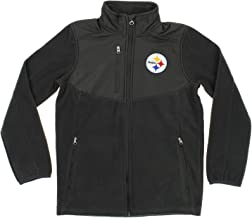 OuterStuff NFL Youth Boys Tactical Polar Fleece Full Zip Jacket, Various Teams (Pittsburgh Steelers, Large (14-16))