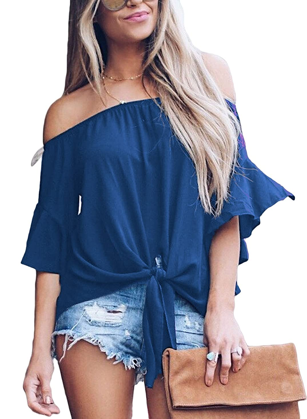 FARYSAYS Women's Striped 3/4 Bell Sleeve Off The Shoulder Front Tie Knot T Shirt Tops Blouse