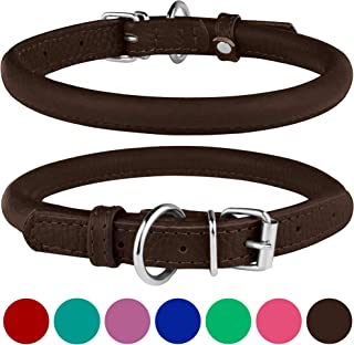 BRONZEDOG Rolled Leather Dog Collar Round Rope Pet Collars for Small Medium Large Dogs Puppy Cat Red Pink Blue Teal Brown ...