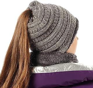 Women Girl Hat Scarf Set Stretch Knit High Ponytail Beanie Tail Winter Outdoor Ski Warm Liner Skull Cap