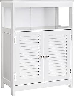 Vasagle - Armario para baño de madera organizador estante de baño con 2 puertas de láminas color blanco BBC40WT