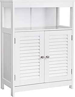 VASAGLE Bathroom Storage Floor Cabinet Free Standing with Double Shutter Door and Adjustable Shelf White