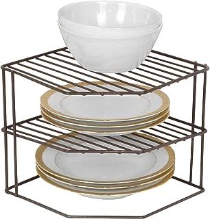 Smart Design 3-Tier Kitchen Corner Shelf Rack - Steel Metal Frame - Rust Resistant Finish - Cups, Dishes, Cabinet & Pantry Organization - Kitchen (9 x 8 Inch) [Bronze]
