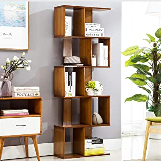 Jerry & Maggie - 5 Tier Shelves Display Bookcase Desk Organizer Storage Wood Closet Multi Units Deluxe Free Stand Shelving Shelves Racks Home Office - Rectangle Shaped | Dark Natural Wood Tone