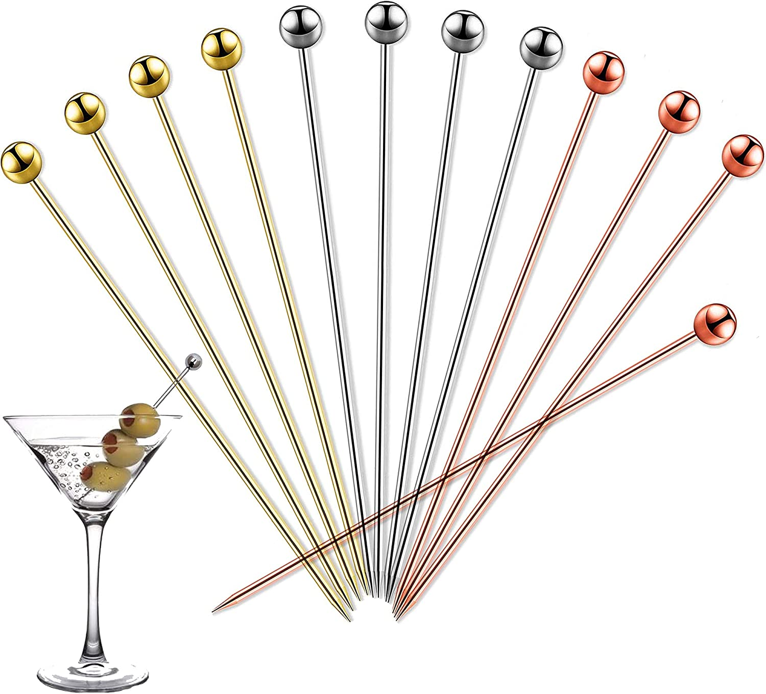 Cocktail Picks 12 PCS Virginia Beach Mall Topics on TV 4.3 Cockt Stainless Inches Steel Reusable