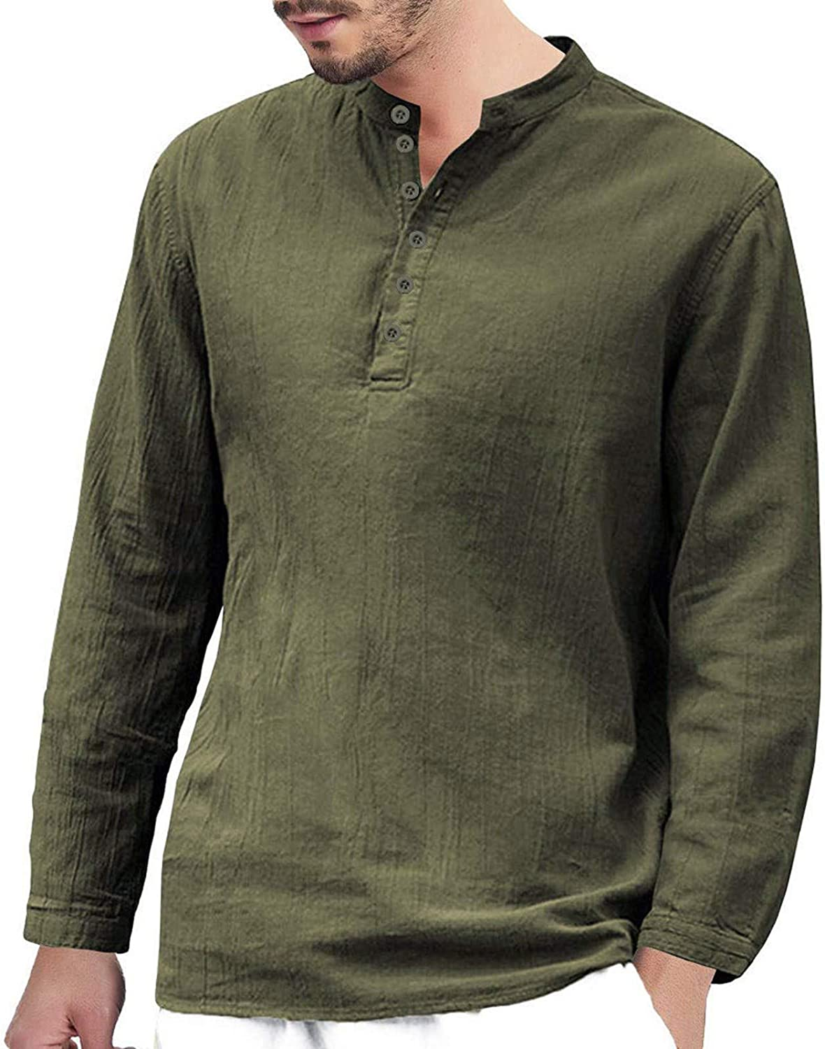 Maryia Men's Henley Shirts Casual Button-Down Up Shirts Long Sleeve Beach Yoga Loose Retro Fit Tops Blouse Green
