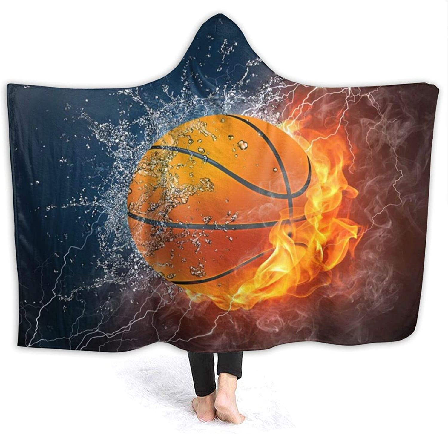 NYIVBE Basketball On Fire Max 57% OFF and Water Hooded Soft Direct stock discount Blanket Co Super