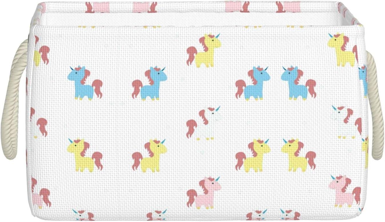 Phoenix Mall Qmuzwed Cute Unicorn Storage Bins for Baskets Organizing Quantity limited Stacka