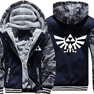 Men's Triforce Hylian Crest Coat Adult Zelda Thick Fleece Zip up Hoodie Winter Jacket Unisex,Camouflage