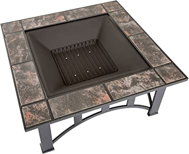Fire Pit Set, Wood Burning Pit - Includes Screen, Cover and Log Poker - Great for Outdoor and Patio, 33 inch Square Marble Ti