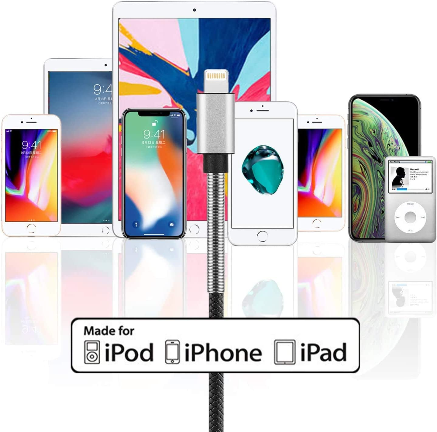 iPad Pro Air 2 and More Lightning Cable iPad Mini 10Ft Apple MFi Certified 3Pack 10 Foot iPhone Charger Cable,Cabepow Fast Charging Cord for iPhone 11//11 Pro//11 Pro Max//XS//XS Max//XR//X//8