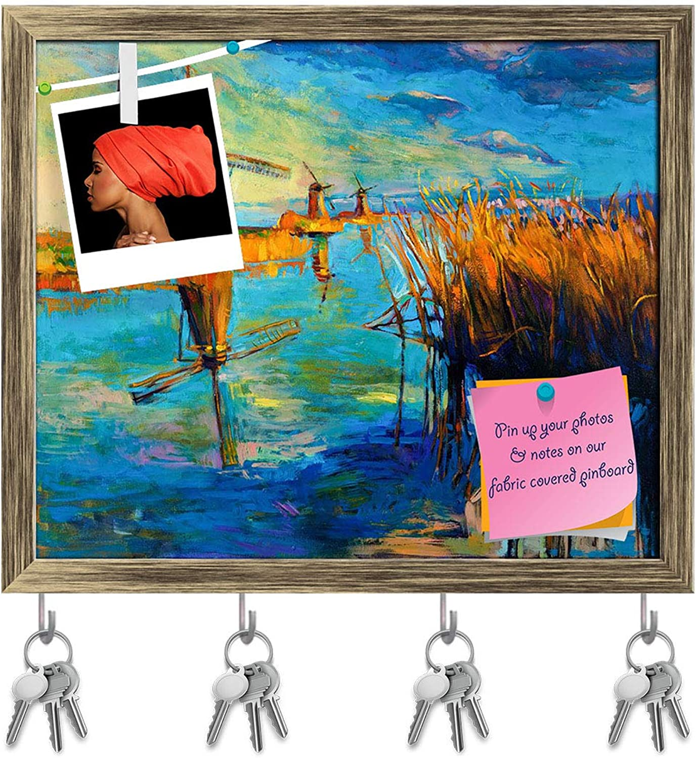 Artzfolio Beautiful Lake Sunset Landscape D2 Key Holder Hooks   Notice Pin Board   Antique golden Frame 19 X 16Inch