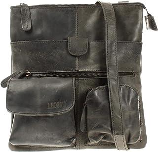 LECONI Umhängetasche Rinds-Leder kleine Schultertasche Damen  Herren Vintage-Look Schultertasche Ledertasche 28x30x5cm LE3011
