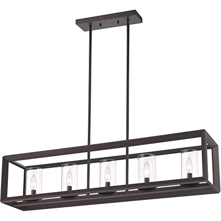 Amazon Com Emliviar 5 Light Kitchen Island Lighting Modern Domestic Linear Pendant Light Fixture Oil Rubbed Bronze Finish With Clear Glass Shade 2074lp Orb Home Improvement