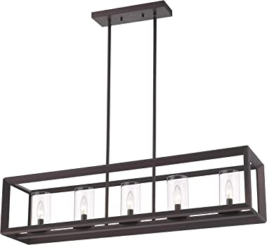 Emliviar 5-Light Kitchen Island Lighting, Modern Domestic Linear Pendant Light Fixture, Oil Rubbed Bronze Finish with Clear G