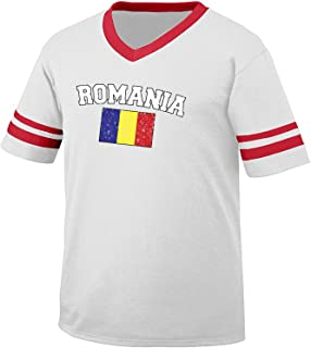 Flag of Romania Men's Retro Soccer Ringer T-shirt, Amdesco