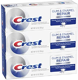 Crest Gum & Enamel Repair Toothpaste, Advanced Whitening, 4.1oz (Pack of 3) ( Packaging May Vary )