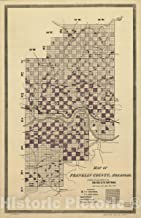Historic 1893 Map - Map of Franklin County, Arkansas; Showing The Land Grant of The Little Rock & Fort Smith Railway. 44in x 68in