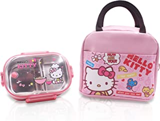 Finex Hello Kitty Zippered Insulated Food Bag + Stainless Steel Compartment Bento Box Set forday trip snack picnic Pink