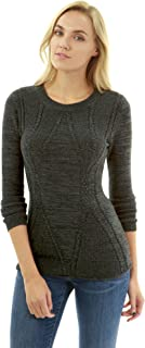 PattyBoutik Women窶冱 Cotton Blend Crewneck Cable Knit Sweater