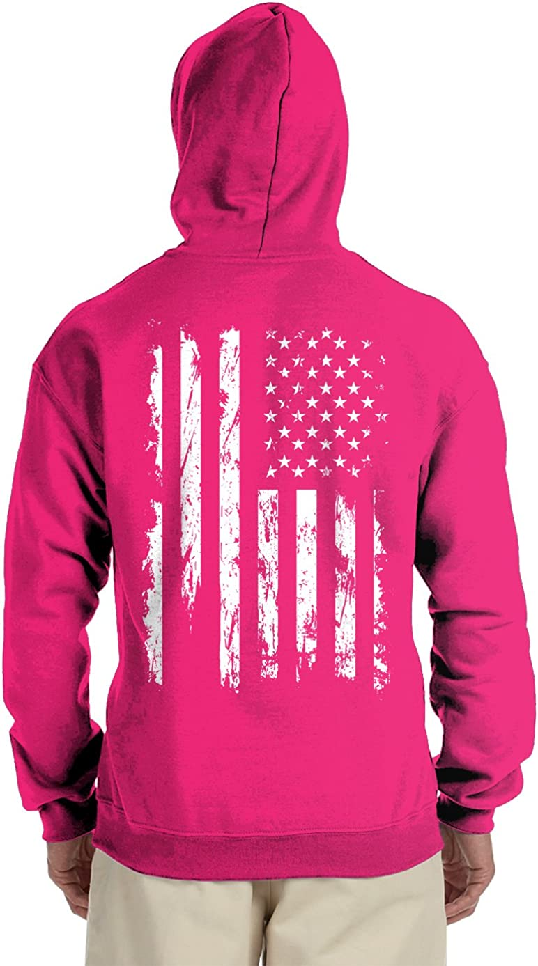 Free shipping anywhere in the nation Distressed White USA Flag Back SEAL limited product Hooded Print Sweatshirt